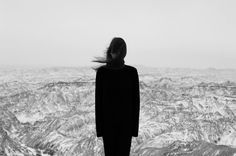 black and white photo, girl in front of canyon  Tyler Rayburn