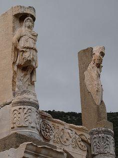 statues on Temple of Domitian, Ephesus