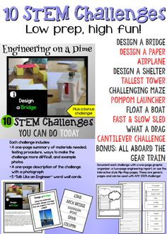 """10 low-prep STEM challenges for grades 2-6, plus a bonus challenge! Explore the engineering design process, """"talk like an engineer"""" with vocabulary cards, and learn how available materials and design constraints change the process. Use low cost and readily available materials and watch the creativity blossom. 