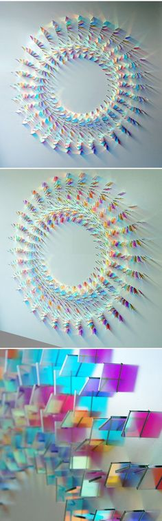 """Glass wall panel installation by UK based artist Chris Wood. She says that her work is about expressing the """"magic of light"""". Um… nailed it! She uses dichroic glass, and in case you've never heard of dichroic glass, (meaning two colour). Developed in the late fifties by NASA to protect against the potentially harmful effects of direct sunlight and cosmic radiation. It is a material that very eloquently expresses the magic of the phenomenon of light."""""""