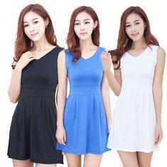 Women High Waist V-neck Sleeveless Pleated Dress