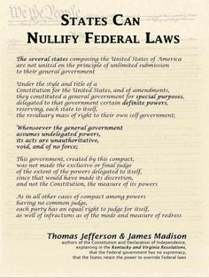 States can nullify federal laws & Must! The few Godless & lawless should not be allowed to distort, deceive and pervert our Constitution. Join the Convention of States. Us History, History Facts, American History, Constitutional Rights, Constitutional Amendments, Bill Of Rights, Out Of Touch, Down South, Founding Fathers