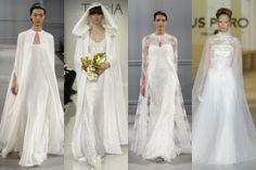 Llevar una capa sobre tu vestido de novia puede hacer que luzcas como un miembro de la familia real, ya que se trata de un accesorio que conserva un elegante toque de distinción que las novias más tradicionales no quieren perder.