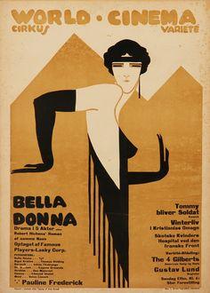 """ein-bleistift-und-radiergummi:  """" Sven Brasch. Poster Design/Filmplakat 'Bella Donna' 1918.  (Source: lauritz.com)  """""""