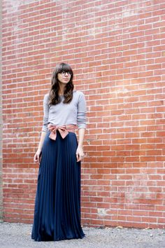 Maxi Skirt http://www.chictopia.com/photo/show/760301-Maxi+and+a+Bow-navy-ruche-skirt-pink-anthropologie-belt-heather-gray-gap-t-shirt