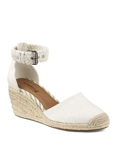 """In crisp linen with a braided rope ankle strap, these Sperry espadrille wedges have a classic nautical feel. Closed toe; buckled ankle strap - 2.5"""" wedge, 0.5"""" platform, feels like 2"""" wedge - Linen an"""