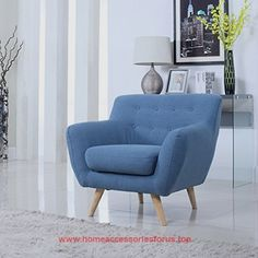 Mid Century Modern Tufted Button Living Room Accent Chair (Blue)  BUY NOW     $140.00    Super modern mid century chairs – perfect for a fun living room to add a touch of modernism and color to any room.Super comfo ..  http://www.homeaccessoriesforus.top/2017/03/12/mid-century-modern-tufted-button-living-room-accent-chair-blue-2/