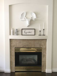 New Absolutely Free Fireplace Remodel tile Concepts Stenciled Tile DIY Fireplace Makeover Paint Fireplace Tile, Build A Fireplace, Wooden Fireplace, Brick Fireplace Makeover, Home Fireplace, Fireplace Remodel, Fireplace Ideas, Bamboo Hardwood Flooring, Vinyl Laminate Flooring