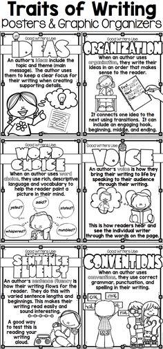 Six Traits Posters in Black and White or Color! These six traits of writing posters include ideas, organization, word choice, voice, sentence fluency, conventions, and presentation. Perfect writing bulletin board display for teaching six traits in your writing units.