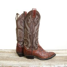 I can see these with leggings and sweater this fall  Vintage Larry Mahan Women's Cowboy Boots