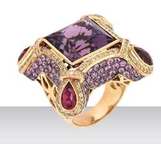 "Eloquent Amethyst Splendor Ring"" featuring amethyst quartz, pink sapphire, pink tourmaline and white diamonds, by Zorab Atelier de Creation."