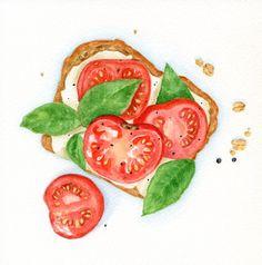 Summer Sandwich  ORIGINAL Painting Food por ForestSpiritArt en Etsy