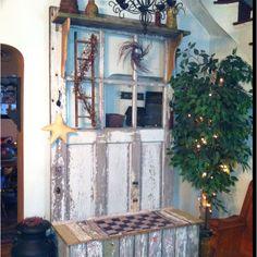 Nautical Hall Tree Old Door Old Barn Wood and Nautical