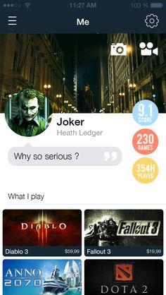 Steam iOS app redesign by Gauthier Hien, via Behance