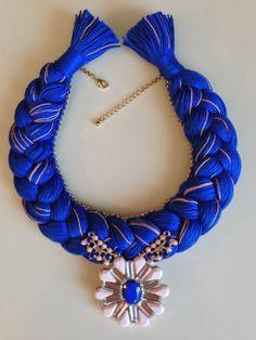 Royal Blue and Pink Melange Statement Bib Hand by stukaLOVAjewelry, $45.00
