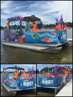 """Finding Dory Parade Float for 4th of July Spray painted the coral """"eac"""" background. Free handed """"crush"""" and the dory logo. Found poms to add 3-d to background and hides seams or oopsies. Use colored zip ties to attatch it to the boat rails. Found a dory birthday pack at Walmart that had dory, nemo, and hank, and bubbles you can hang with fish line. The anemone was made from cutting pool noodles and stuffing them in a 5g bucket and and old lamp shade as bases. And to avoid a paper-mâché…"""
