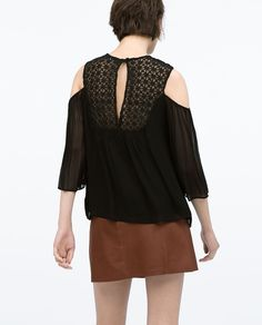 GUIPURE FRONT OFF-SHOULDER BLOUSE-Tops-WOMAN | ZARA United States
