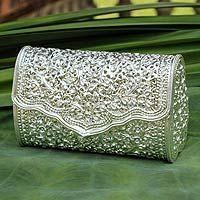 Sterling silver plated clutch handbag, 'Jasmine'