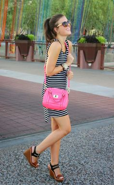 black & white dress with pop of pink