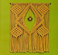 Vintage macrame wall hanging with bell