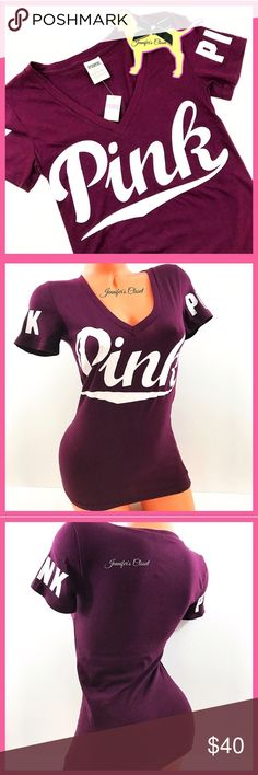 •Victoria's Secret PINK• Maroon Logo fitted shirt V I C T O R I A 'S ✦ S E C R E T  PINK  Super cute fitted t-shirt with PINK graphics. Pair with leggings or shorts for a nice causal quick outfit!   ❈ Condition: New with tags  ❈ Reasonable Offers Always Welcome!  ❈ Fast shipping Monday⇢Friday  Same/Next day after your purchase  ❈ Questions? Please comment below,  I will be more than happy to assist you ☻  ❈ Bundles are always encouraged to save on shipping!   ❈Thank you for stopping by!   xo…