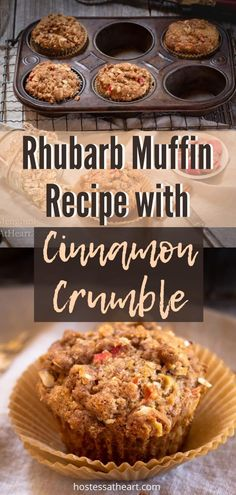Rhubarb Oat Muffins with Cinnamon Butter Crumble has a spring brightness from the Rhubarb but is like a big ole warm hug from the cinnamon and brown sugar goodness. #muffins #MuffinRecipe #Bake #Cinnamon | Homemade Muffins | Muffins from Scratch Cinnamon Crumble, Cinnamon Butter, Cinnamon Recipes, Rhubarb Recipes, Fruit Recipes, Muffin Recipes, Sweet Recipes, Dessert Recipes, Breakfast Recipes