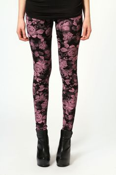 Digital Rose Print Leggings at boohoo.com