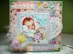 I really love this beautiful 'soft and sweet' card with the feathers, tulle flowers, and beautiful pastel colors
