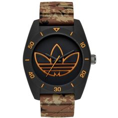 Adidas Originals 'santiago' Polyurethane Strap Watch, 42Mm ($85) ❤ liked on Polyvore featuring jewelry, watches, dial watches, polish jewelry, retro watches, adidas originals and adidas originals watches