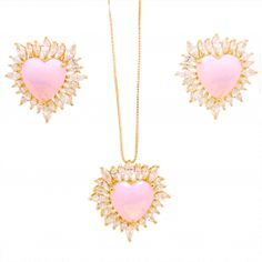 Conjunto brincos e colar coração pedra natural rosa semi-joia