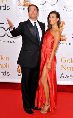 Michael+Weatherly+Wife   Michael Weatherly Actors Michael Weatherly and Cote De Pablo arrive at ...