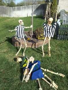 "Halloween outdoor Display 2012 - "" Replacement Refs blown call"" : Plastic skeletons, rebar, wire, kid size t-shirts & spray paint / puff paint - people LOVED seeing this in our yard"
