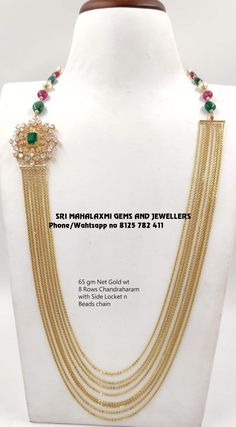 Traditional designs made with new concept. Presenting Chandraham 8 Rows 65 Gm Net Gold. Visit for maximum discounted prices on full range of ready selection or express delivery on made to order. Contact no 8125 782 411 04 November 2019 Gold Bangles Design, Gold Jewellery Design, Gold Mangalsutra Designs, Gold Jewelry Simple, Artisanal, Beaded Jewelry, Chain Jewelry, Handmade Jewelry, Indian Jewelry