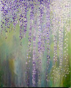 Purple Flowers Painting - Abstract Floral Art Canvas - Wisteria Lavender blooms - Custom Art - Vine of flowers - Modern Minimalist Decor by Urbanwalldecor on Etsy https://www.etsy.com/uk/listing/270762569/purple-flowers-painting-abstract-floral