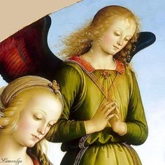 IL PERUGINO e aiuti - Tondo della Vergine col Bambino tra due sante e due angeli, dettaglio - 1490-1495 - Museo del Louvre, Parigi