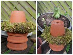 Filz und Garten Gartendekoration mit Moos und Tontöpfen