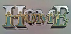 hand painted gold and silver leaf HOME lettering, Kilmarnock, Scotland, www.artisanartworks.com
