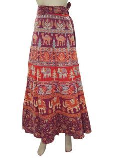 Amazon.com: Skirt Sarong Indie Red Beige Elephant Print Long Wrap Around Skirts: Clothing