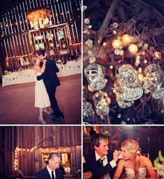 barn wedding, beautiful.  love the string lights in the mason jars! I would love a rustic wedding!!!