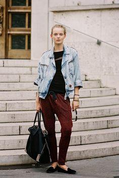 Svea Berlie, after A Show, Paris, September 2013. Slouchy denim jacket, slouchy trousers, a single earring.