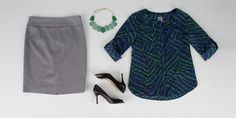 For a fresh, professional update to your office attire, look no further than Anne Klein separates. Take a basic pencil skirt and colorful blouse, add a bold necklace to enhance the secondary color scheme, and finish the outfit with boardroom-ready pumps (from Ivanka Trump, of course!). #VonMaur #EmilysEssentials #Businesswear #WorkOutfit #Summer