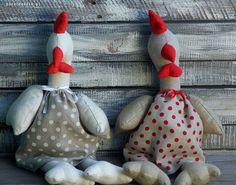 Kura kurka kurki Wielkanoc len Tilda w Po zachodzie Handmade - fabryka krasnali na DaWanda.com