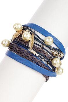 Multi-Strand Swarovski Pearl Leather Wrap Bracelet by Sara Designs on @HauteLook