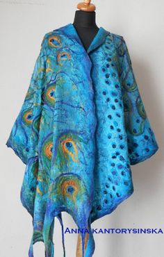 large nuno felted silk scarf shawl wrap, PEACOCK BLUE LARGE handmade, art to wear, silk wool scarf, eco fashion by Kantorysinska: Hippy Chic, Plus Size Vintage, Unique Fashion, Fashion Design, Floral Sleeve, Nuno Felting, Textiles, Floral Shorts, Types Of Sleeves