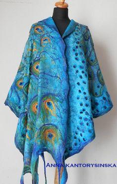 large nuno felted silk scarf shawl wrap, PEACOCK BLUE LARGE handmade, art to wear, silk wool scarf, eco fashion by Kantorysinska