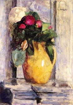 """""""The Yellow Pot"""" -- 1920 -- Pierre Bonnard -- Oil on canvas -- Private Collection Pierre Bonnard, Painting Still Life, Still Life Art, Paintings I Love, Indian Paintings, Art Floral, Impressionist Art, French Artists, Love Art"""