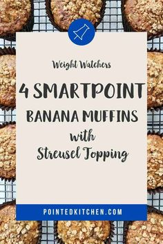These Banana Muffins with their deliciously sweet crunchy streusel topping are just 4 Smart Points per serving on Weight Watchers Blue, Green, Purple Weight Watchers Pasta, Weight Watchers Free, Weight Watchers Desserts, Weight Watcher Shopping List, Healthy Banana Muffins, Streusel Topping, Ww Recipes, Blue Green, Purple
