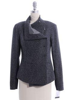 ELIZABETH & JAMES Gray Wool Knit Inset Asymmetrical Jacket Sz 2 #ElizabethandJames #BasicJacket