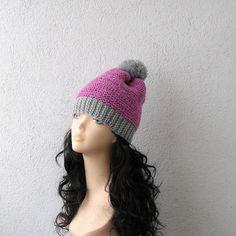 Valentine Pink Slouchy Beanie Beanie Hat Pom Pom by AlbadoFashion, $32.00