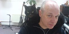 Black cat sitting on Brian Eno's shoulder. Brian and other cats: http://brian-eno-with-cats.tumblr.com/ Jes Benstock on Brian's cat: https://www.youtube.com/watch?v=49hwUBJo9GI